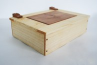 A4 document box in Ash with Apple wood insert and hinges